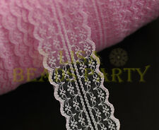 10yards 45mm Fabric Embroidered Lace Bilateral Trim Ribbon Crafts Sewing Pink