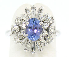 14k Solid White Gold Oval Tanzanite Ring w/ Ballerina Diamond Cluster Framing