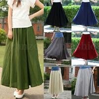 UK Boho Ladies Women's Long Maxi Skirt Elastic High Waist Full Length Maxi Dress