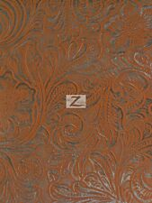 """VINYL PLEATHER WESTERN FLORAL TRAITS FLOCKED PVC FABRIC - Copper - 54"""" SOLD BTY"""