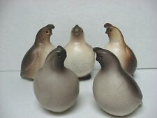 Vintage lot 5 QUAIL birds California Pottery 2 Hildred stickers