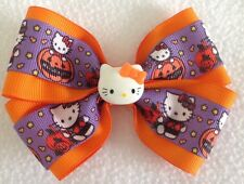 "Girls Hair Bow 4"" Wide Halloween Hello Kitty Flatback French Barrette"