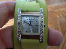 Guess Rhinestone Green strap watch with fresh battery and free shipping in usa