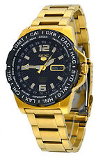 Seiko 5 Sports SRP690 Men's Gold Tone Stainless Steel World Time Automatic Watch