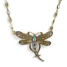 NEW SWEET ROMANCE NOUVEAU IRIDESCENT SHIMMER CRYSTAL DRAGONFLY NECKLACE