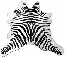 """Mini Zebra Cowhide Rug Black stripes  Size: 36"""" X 32"""" calfskin hide rug"""