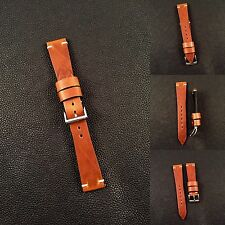 Premium 22mm Horween Leather Vintage Style  Minimal Stitch Watch Strap