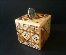Japanese  Samurai  Wooden Yosegi Magic Coin Saving Bank Puzzle Trick Box/ HK-035