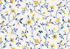 6 Yds Waverly Fabric Country Lane Blue Yellow Vine  Cotton Drapery Upholstery