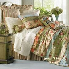 GARDEN DREAM 2pc * Twin * QUILT SET : COUNTRY COTTAGE RAG PATCH FLORAL COMFORTER