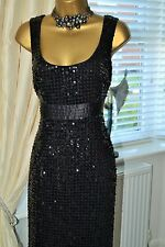 Stunning ⭐️ Per Una M&S ⭐️ Black Sequinned Dress Size 12L 12 Long