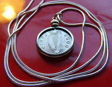 "Year 2000 Irish Lucky Coin Pendant on a 30"" Sterling Silver Snake Chain."