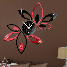 3D Clock Lotus DIY Art Acrylic Mirror Wall Sticker TV Backdrop Home Decoration