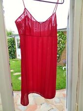 V85 VTG PIPPA DEE STRIPEY RED SHEER NYLON CHEMISE SLIP NIGHTIE BNIP 16/18