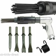 Air Hammer Descaler Needle Gun Tool Kit Paint & Rust Remover 19 Pin 4 x Chisels