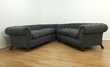 John Lewis New Chatsworth Chesterfield 3 & 2 Seater Sofa ,Fabric Slate Grey