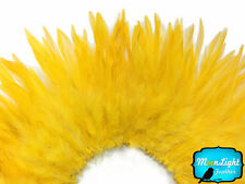 4 Inch Strip - YELLOW GOLD Strung Chinese Rooster Saddle Feathers