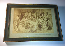 "Antique C.1876 H.W. Peirce, Del. ""The Husking"" African Americana / Work Print"