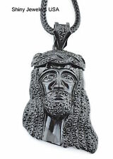 """MENS HIP HOP ICED OUT BLACK JESUS PENDANT WITH 4MM 36"""" FRANCO CHAIN NECKLACE"""