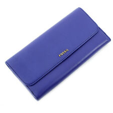 FOSSIL MEMOIR DEEP VIOLET FLAP CHECKBOOK CLUTCH PURSE WALLET SL4315502 NEW IN