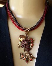 Vintage Necklace Red Rhinestone Articulated Fish Pendant Crystal & Glass Beads
