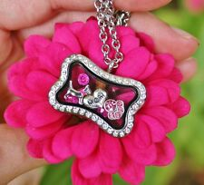Dog Mom Living Locket Necklace Floating Charms Paw Print Silver Fuchsia Hot Pink
