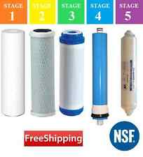 5 Stage Reverse Osmosis RO Replacement Water Filter Set with 50 GPD Membrane NSF
