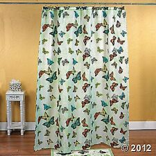 Butterfly Shower Curtain Green Colorful Bathroom Decor 12 Butterfly Shaped Hooks
