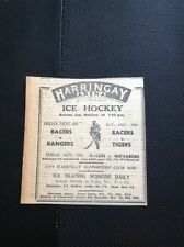 m1-5 ephemera 1949 Advert Harringay Arena Ice Hockey Racers V Rangers