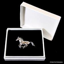 Running Horse Pewter Pin Brooch in Gift Box - Handcrafted Equestrian Badge
