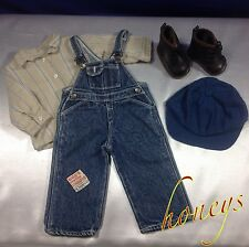 Authentic American Girl Doll Clothes KIT'S OVERALLS OUTFIT & WORK BOOTS Retired