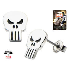 Inox Women'S Stainless Steel Punisher Skull Stud Earrings Marvel Comics