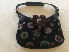 Longchamp Black Velvet & Fur Purse with Circles of Brocade Tapestry Embroidery
