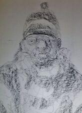 KARL HOLSTEIN (1912-2003) Kohlezeichnung: MANN MIT SCHNEEANZUG, SCHAL UND MÜTZE