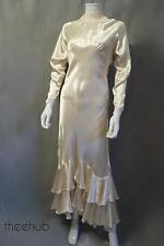 Sensational vtg 1930s harlow liquide satin coupe en biais mariage frou frou blouse robe