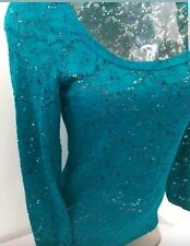 VANITY Crochet Lace stretch Scoop Neck Blouse Top  jade Deep Turquoise Large New