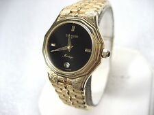 WITTNAUER MONTEGO SWISS HT8197 LADIES DRESS WATCH BLACK DIAL GOLD PL DATE ANALOG