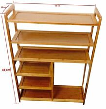 6 Tier Natural Bamboo Shoe Rack Storage Organiser Holder With Boot Space , 68X88