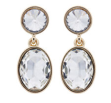 CLIP ON EARRINGS - gold plated earring with two clear crystal stones - Maddy C