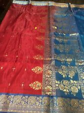 Designer Banaras Indian Silk Saree Bollywood Grand Partywear Bridal Sari Red
