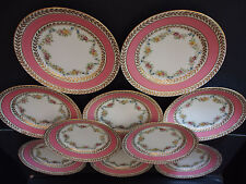 10 Antique Limoges Ovington T&V Pink Hand Painted Garlands Salad Dessert Plates