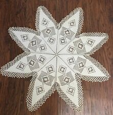 """Vintage Filet Crochet Lace Tablecloth Topper Doily Snowflake 8 Point Star 36"""""""