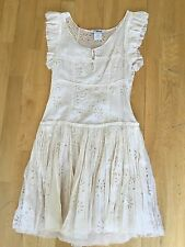"Chloe ""Marbre"" Beige Cotton/Silk Dress w/cut out floral detailing, size FR 36"