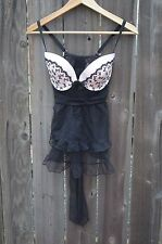 Victorias Secret Sexy Teddy Maid Apron Lingerie pink with bows Size 36D