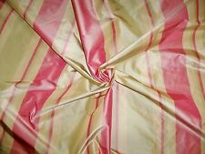 SILK LOOM PRIMAVERA STRIPES SILK TAFFETA FABRIC 10 YARDS SHABBY ROSE CELADON
