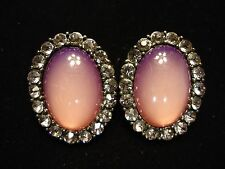 Vintage Large Pink Purple Sparkly & Catseye Cabochon Oval Cluster Post Earrings