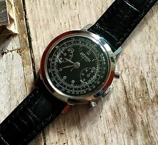 Vintage Swimotec Zurich Chronograph black superlative dial 38mm steel