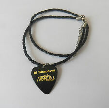 "M SHADOWS AVENGED SEVENFOLD Guitar Pick signature stamped 18"" leather NECKLACE"