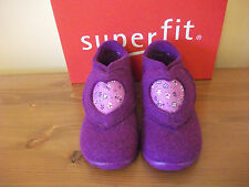 Girls SUPERFIT 295 Purple 'Heart' WOOL Velcro SLIPPER UK 4 Eur 20 NEW!