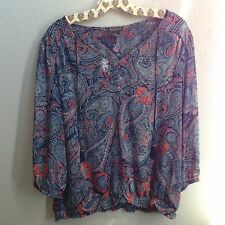 Lucky Brand Womens XL Black  Boho Peasant Top Blouse Shirt